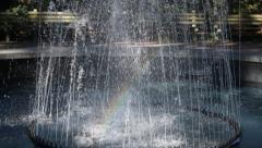 Savannah, Georgia close up of water fountain with rainbow - stock footage
