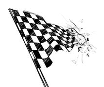 Drawing checkered flag with tire track - stock illustration