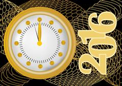 New year 2016 greeting card with gold clock in gold net, clock showing midnig - stock illustration