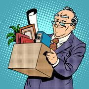 Happy old businessman pension Stock Illustration