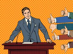 Businessman speaker business concept like dislike hands Stock Illustration