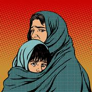 Refugee mother and child migration poverty Stock Illustration