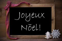 Chalkboard With Decoration Joyeux Noel Mean Merry Christmas Stock Photos