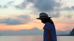 Asian woman beautiful tropical beaches and landscape Stock Footage