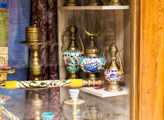 Stock Photo of Copper traditional pepper mill on the bazaar of Istanbul
