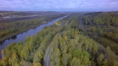 Aerial autumn River Railroad Road Stock Footage