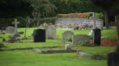 European Cemetery, England: graves and flowers Stock Footage