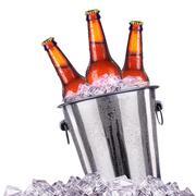 Beer bottles in ice bucket isolated on white Kuvituskuvat