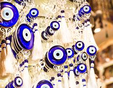 Stock Photo of Blue Evil Eye Charms Sold at Bazaar  in Turkey