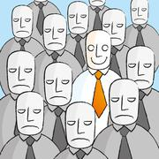 Smiling man in a crowd of sad people Stock Illustration