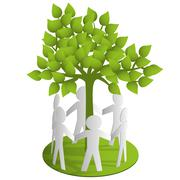 Around the green paper tree Stock Illustration