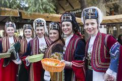 Folk dancers from the Crete club at the parade in Thessaloniki, Greece. - stock photo