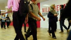 Time Lapse Pedestrians Underground Walkway - Kuala Lumpur Malaysia Stock Footage