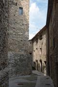Medieval street of ancient town Besalu, Girona province, Catalonia, Spain. Stock Photos