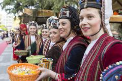 Stock Photo of Folk dancers from the Crete club at the parade in Thessaloniki, Greece.