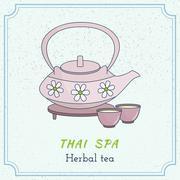 Hand drawn Thai massage and spa design elements. Stock Illustration