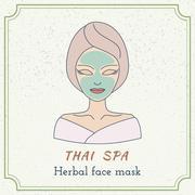 Hand drawn Thai massage and spa design elements. - stock illustration