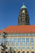 New Town Hall with old tower in Dresden, Saxony, Germany. - stock photo
