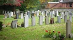 Traditional cemetery in England, Europe Stock Footage