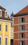 Narrow gap between bright buildings and Frauenkirche in it, Dresden. Stock Photos