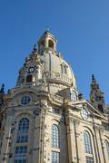 Frauenkirche on background of bright blue sky, Dresden, Saxony, Germany. - stock photo