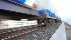 clip industry oil container trains on railways track - stock footage
