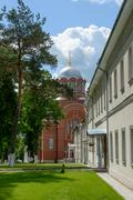 The view along central alley from northern side towards St Nicholas Cathedral Stock Photos
