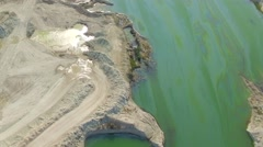 AERIAL VIEW. Emerald Lake In Quarry In Bakhchisarai, Crimea Stock Footage