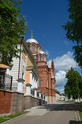 The view towards Pokrovsky and St Nicholas Cathedrals from parish sunday-scho Stock Photos