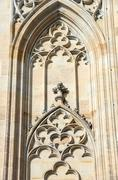 Tracery on wall of St. Vitus Cathedral in Prague, Czech. Stock Photos
