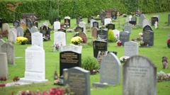Modern cemetery in England, Europe Stock Footage