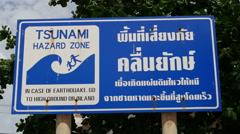 Close Up of Tsunami Sign - Phuket Thailand - stock footage