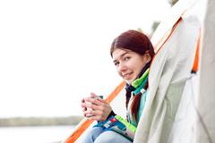 Camping happy woman Stock Photos