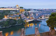Evening view of Dom Luis I Bridge and Duoro river, Porto, Portugal Stock Photos