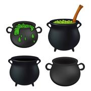 Witch cauldron empty and with green potion, bubbling witches brew set. Realis - stock illustration