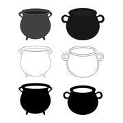 Empty witch cauldron, pot set. Cartoon Vector illustration isolated on white  Stock Illustration