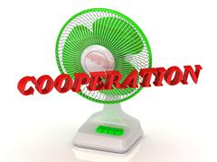 COOPERATION- Green Fan propeller and bright color letters on a white backgrou - stock illustration