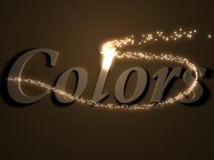 colors- 3d inscription with luminous line with spark on contrasting backgroun - stock illustration