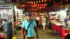 Time Lapse of Chinese Market at Night  - Kuala Lumpur Malaysia - stock footage