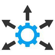 Gear Distribution Flat Icon - stock illustration