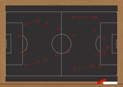 illustration of chalkboard with game plan soccer - stock illustration