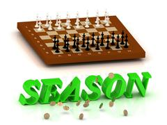 SEASON- inscription of green letters and chess on white backgroundckground - stock illustration