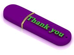 Thank you flash  - inscription bright volume letter on USB flash drive on whi - stock illustration