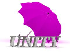 UNITY- inscription of silver letters and umbrella on white background.... - stock illustration