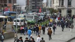 People walk on Plaza San Francisco square Stock Footage