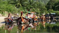 Colorful Boats in Small Village in Phuket Thailand Stock Footage