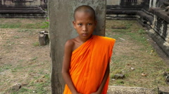 Novice Child Monk  - Angkor Wat Temple Cambodia Stock Footage