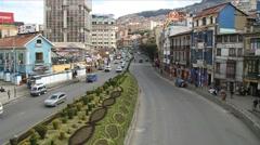 Avenida Ismael Montes in La Paz Stock Footage