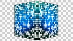 Broadcast Hi-Tech Twinkling Spinning Cube, Blue, Alpha Channel, Loopable, HD Stock Footage