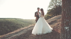 Lovely wedding couple in sunset Stock Footage